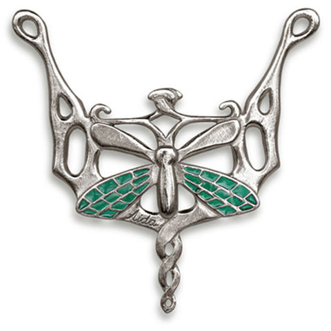 Libellula Dragonfly Pendant (Peridot) - 8 cm - Handcrafted in Italy - Pewter/Britannia Metal