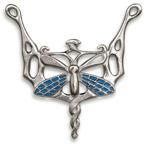 Libellula Dragonfly Pendant (Sapphire) - 8 cm - Handcrafted in Italy - Pewter/Britannia Metal