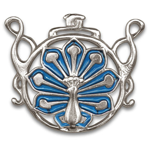 Pavone Peacock Pendant (Sapphire) - 6.5 cm - Handcrafted in Italy - Pewter/Britannia Metal