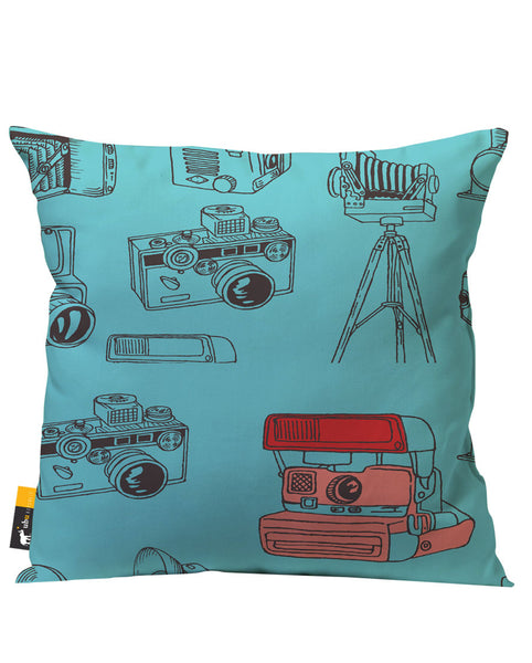 Blue Artsy Camera Patio Pillow
