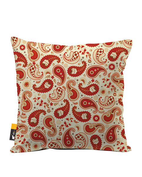 Chili Paisley Luxe Suede Throw Pillow