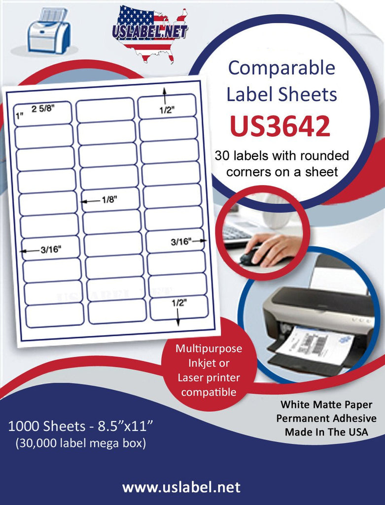 "US3642 - 1'' x 2 5/8'' 30 up Comparable 5160 label on a 8 1/2"" x 11"" sheet."