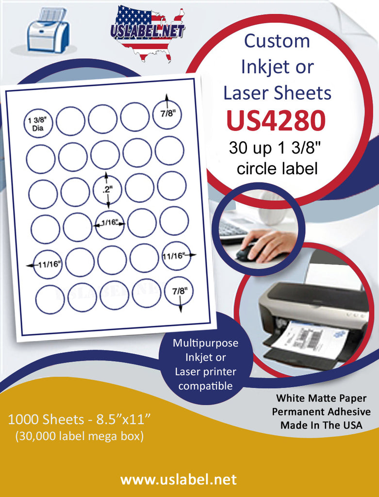 "US4280 - 1 3/8'' Circle 30 up  on a 8 1/2"" x 11"" label sheet"