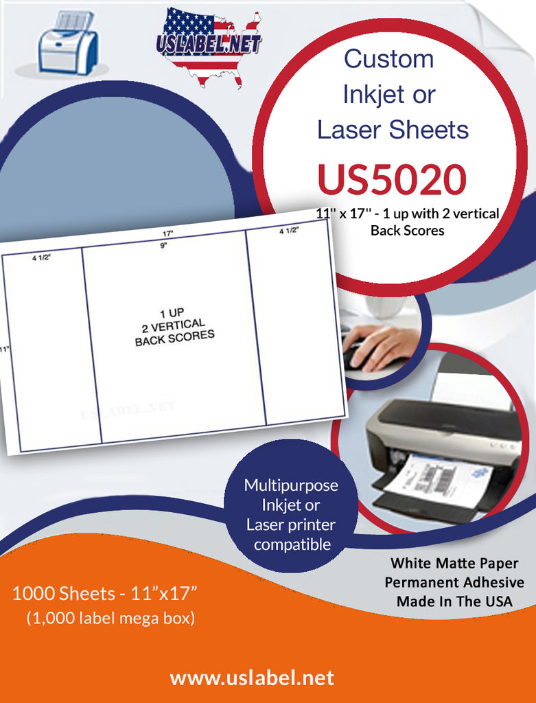 US5020-2 - 1 up 11'' x 17'' - 1,000 labels with 2 vertical Back Scores