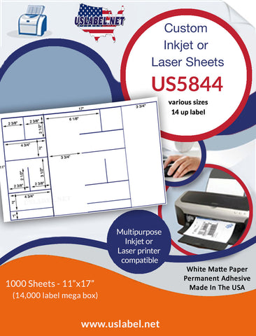 US5844 - various size labels - 14 up on a 11'' x 17'' sheet 14,000 labels.