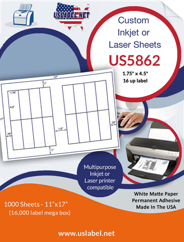 "US5862 - 1.75"" x 4.5"" - 16 up label on a 11'' x 17'' sheet 16,000 labels."