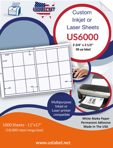 US6000 - 2 3/4'' x 3 1/2'' - 18 up label on a 11'' x 17'' sheet 18,000 labels.