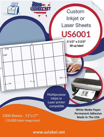 US6001 - 2 1/2'' x 3 2/3'' - 18 up label on a 11'' x 17'' sheet 18,000 labels.