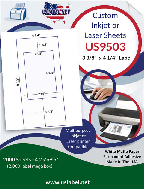 US9503 - 3 3/8'' x 4 1/4'' Label on 9 1/2'' x 4 1/4'' sheet - 2,000 sheets.