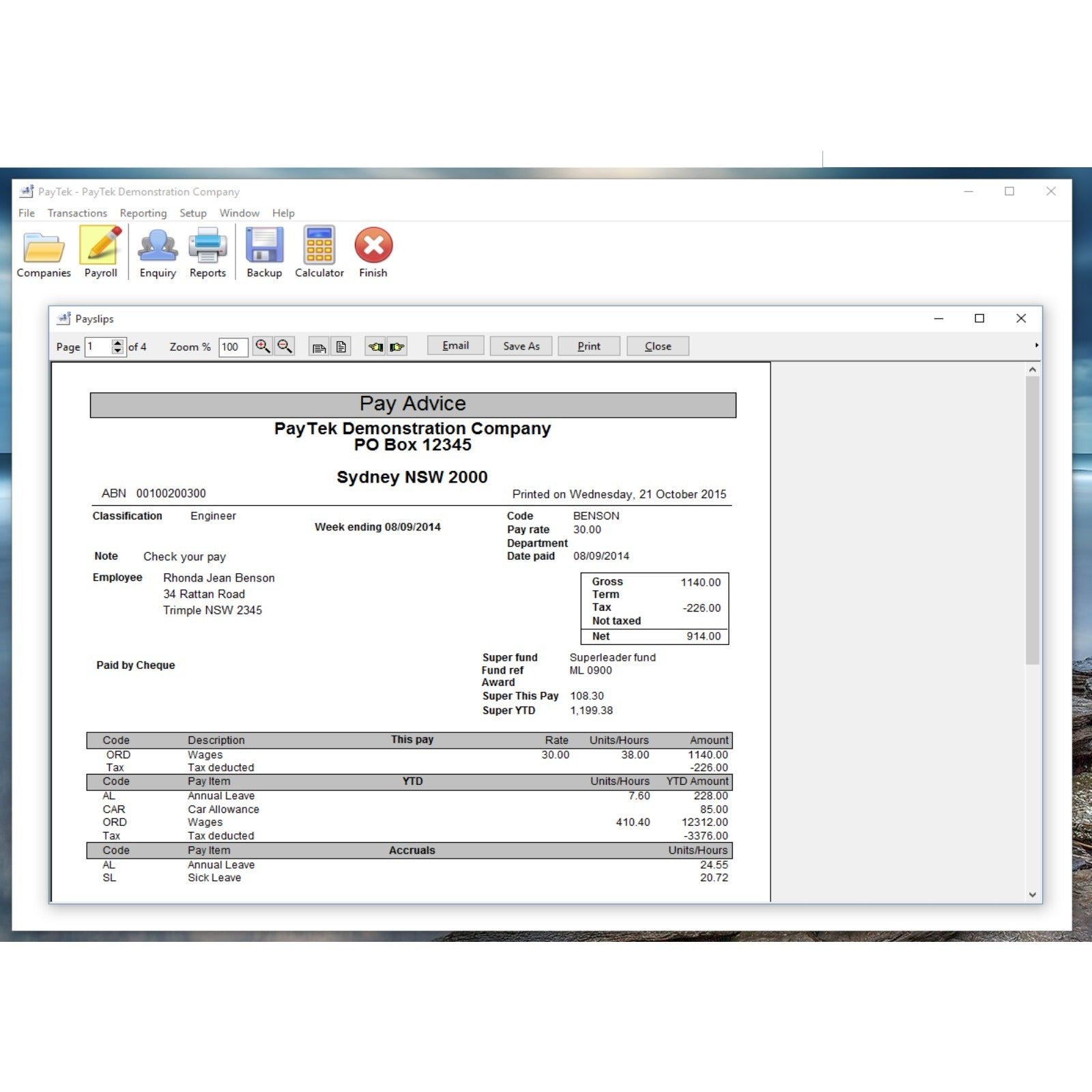 PayTek Payroll Software Sample Report