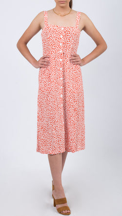 Capulet Orange and White Floral Midi Dress With Buttons