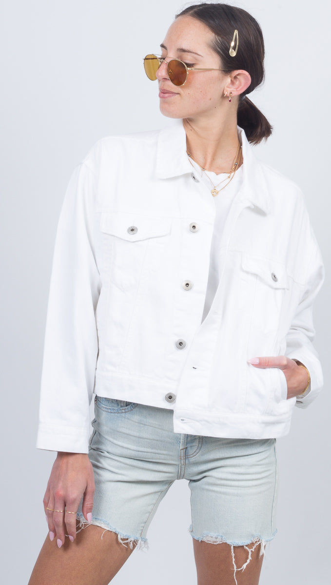 Celeste Cropped Star Back Denim Jacket - Ice Breaker