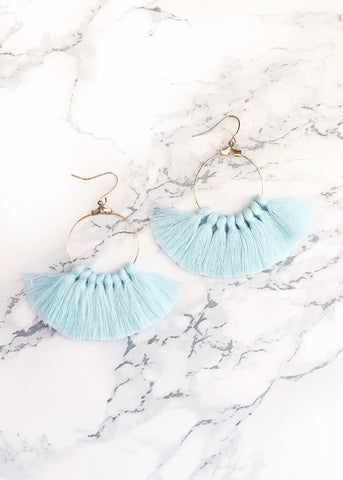 Light Blue Fan Tassel Earrings