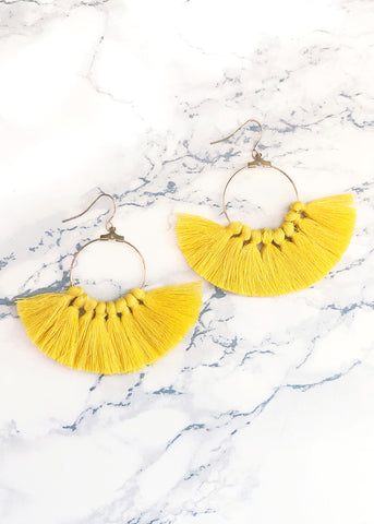 Yellow Fan Tassel Earrings