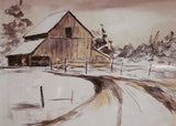 Vintage Watercolor of Barn, Farm