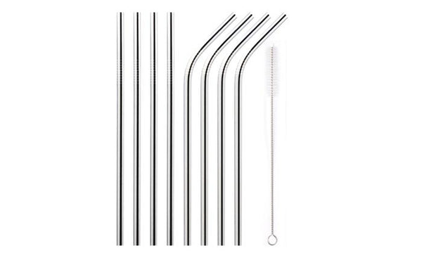 Eco-friendly Reusable Stainless Steel Drinking Straws 4/8 pack