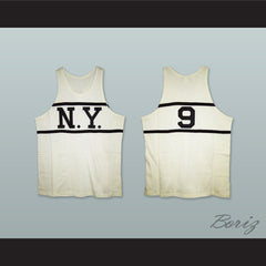 1920-21 New York Whirlwinds 9 White Basketball Jersey - borizcustom - 3