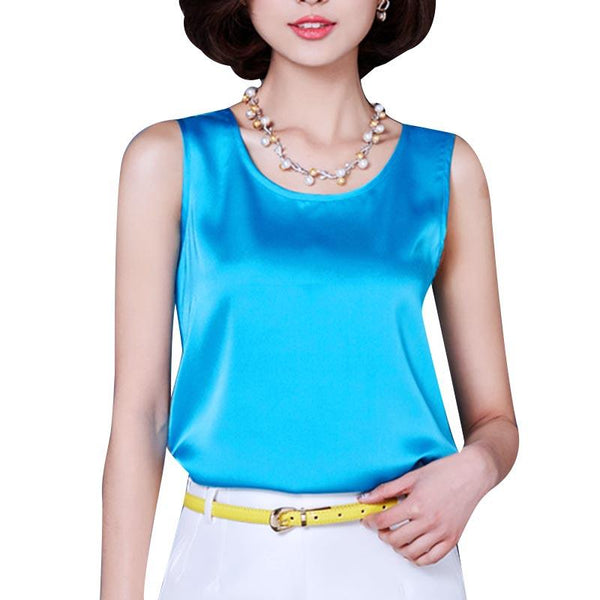 14 Colors Women Tank Top Bright Silk Loose Chiffon Vest Solid Sleeveless Camisole Sexy Top Shirts Women Thin Vest Bralette Cheap