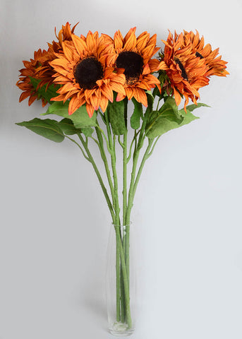 Artificial Mustard Colour Sunflower (WHOLESALE PACK OF 6 STEMS)