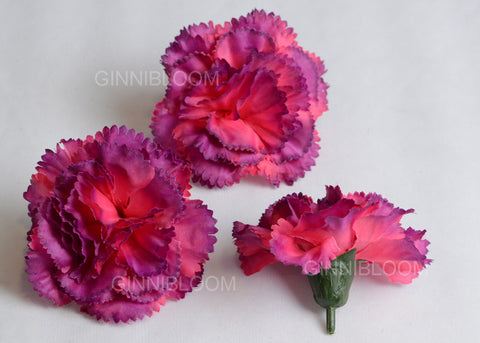 ARTIFICIAL CARNATION HEADS - PURPLE SHADED (WHOLESALE PACK OF 500 HEADS)