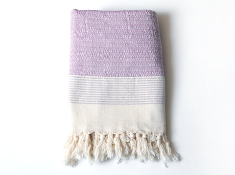 "Double-Thread ""Kumru"" Bath Towel / Throw in Purple"