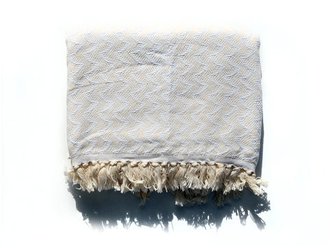 "Double-Thread ""Wave"" Bath Towel / Throw in Ecru"