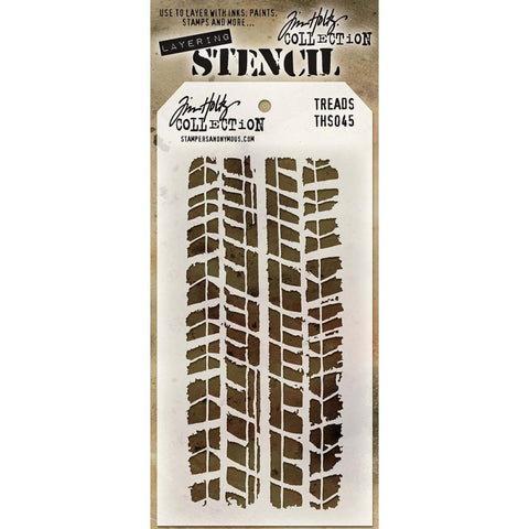 Treads ... this Tim Holtz layering stencil features rugged tyre track design