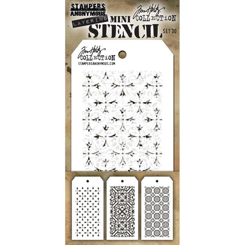 Crossed - Flames - Rosette Mini Layering Stencils by Tim Holtz