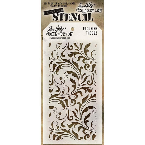 Tim Holtz Layering Stencil. Intricate and varied in size, the swirls of leaves and curls on this stencil are delicately intertwined with each other creating a stunning background.