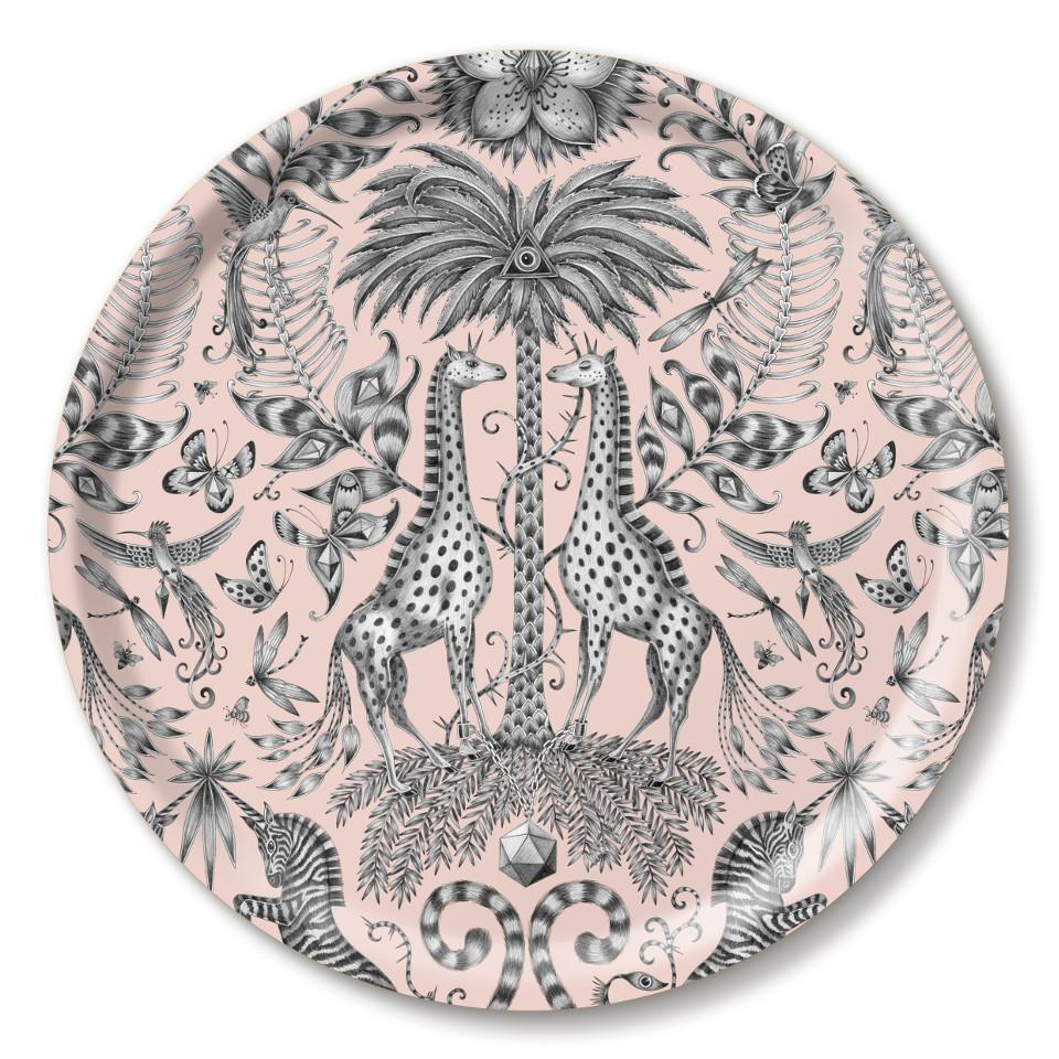 Kruger by Emma J. Shipley pink round tray, 39 cm.