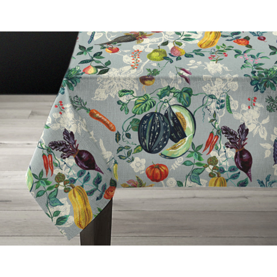 Veggies linen tablecloth, 1.5m wide by 3m length.