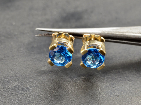 Emilia Blue Topaz Stud Earrings