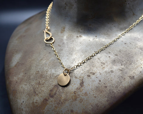 Disc Charm Necklace- Yellow Gold