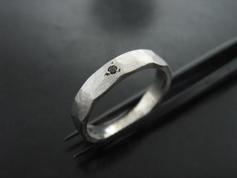 Zeus Ring In White Gold with  Black Diamond