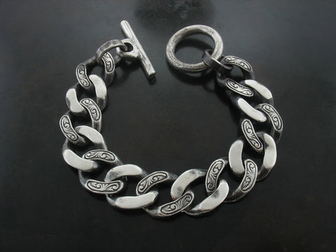 Carved Curb Link Bracelet