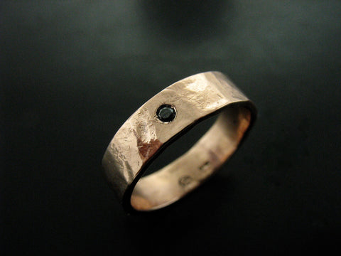 Zeus Wedding Ring- Rose Gold & Black Diamond 4mm wide