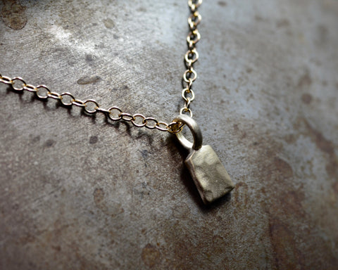RECTANGULAR FORGED CHARM- YELLOW GOLD