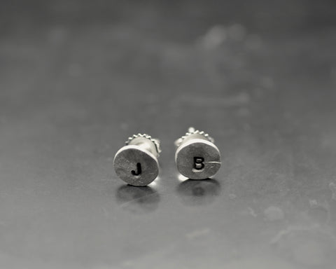 Hammered Round Studs with Initials