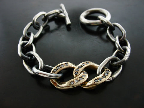 Curb Meets Zeus Link Bracelet- STERLING SILVER, GOLD, BLACK AND WHITE DIAMONDS