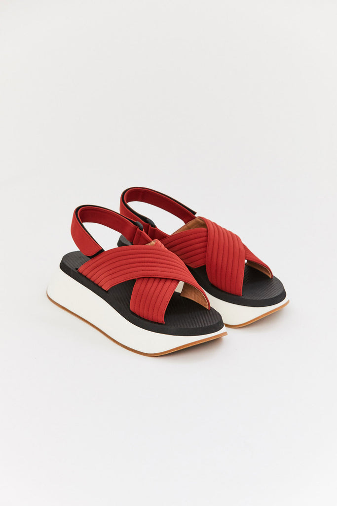 Marni - Wedge Sandal, Red
