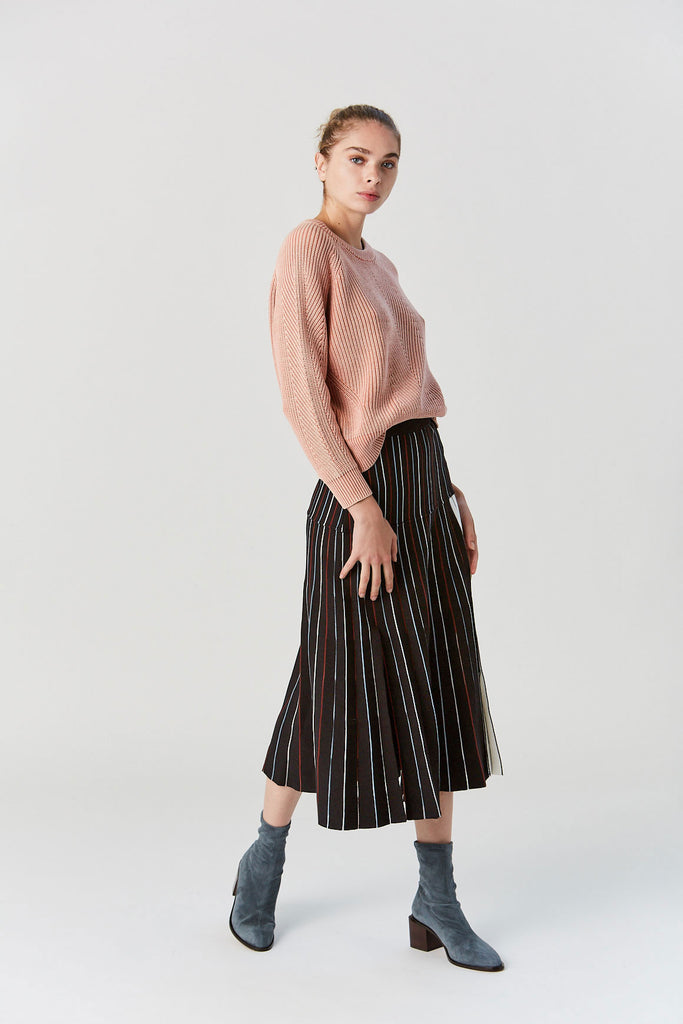 Divvy Skirt, Black Sunburst Pleat