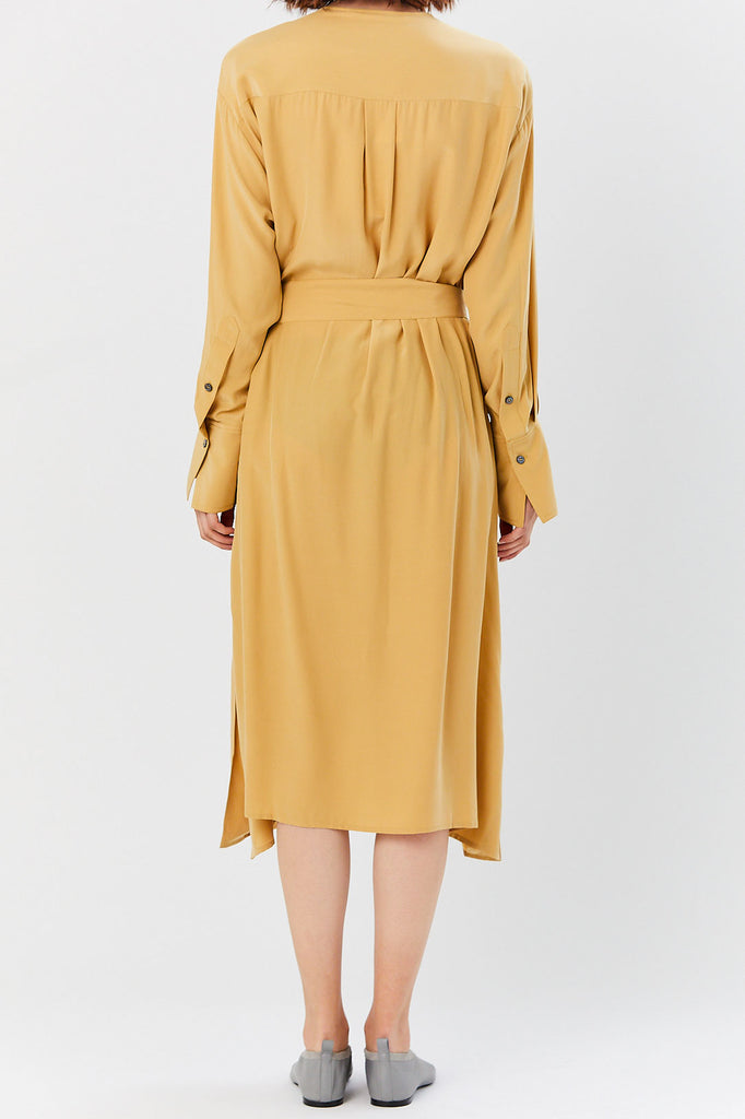 Studio Nicholson - Silk Satin Belted Shirt Dress, Dessert