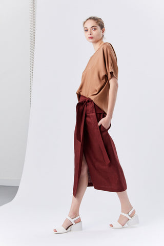 Linen Canvas Wrap Skirt, Burgundy