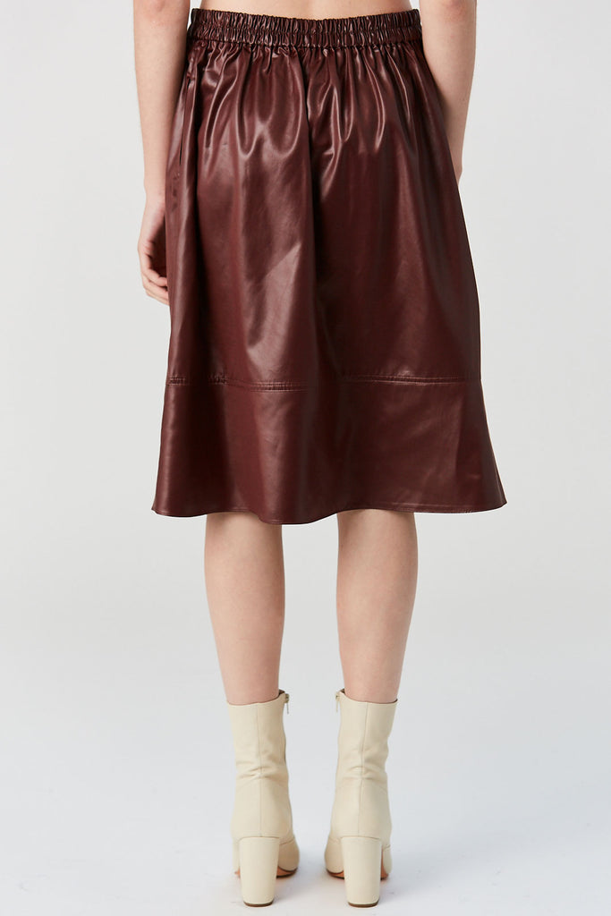 TIBI - Liquid Drape Skirt, Burgundy