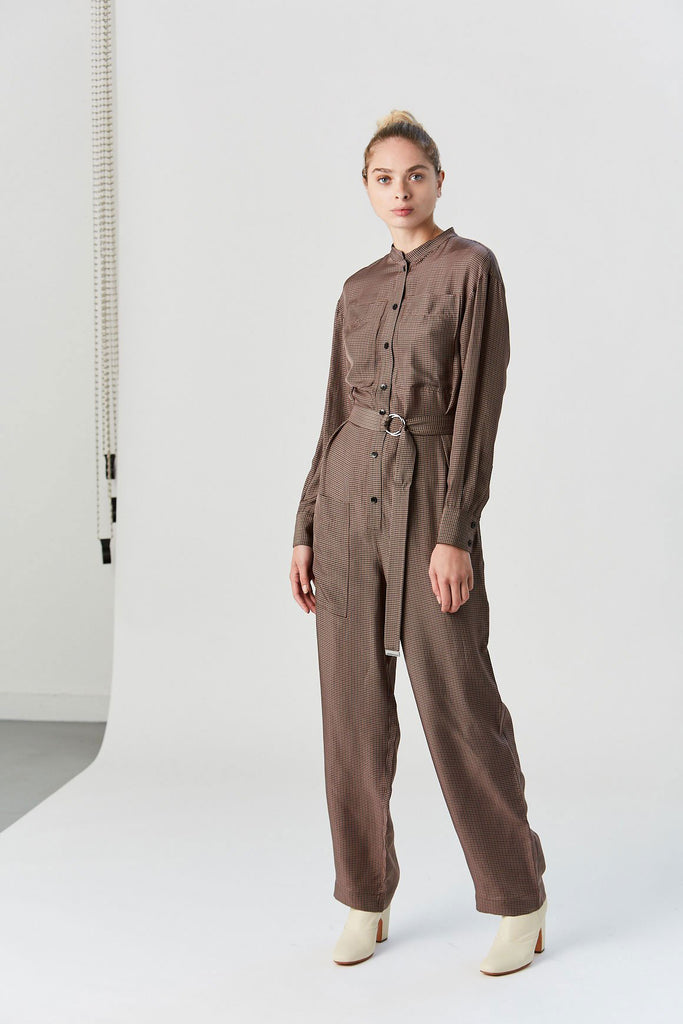 Walden Cupro Jumpsuit, Brown Multi