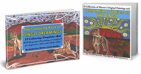 The Australian Desert Dingo Book Set COLOURING BOOK and FINE ART PICTURE BOOK by Mirree Contemporary Dreamtime Animal Series