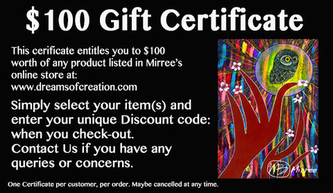 Artworks by Mirree Gift Certificate $100