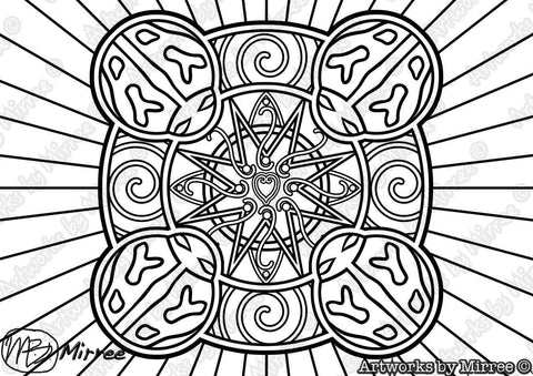 'Lady Beetle Colouring Single PDF Page COLOURING PAGE' by Mirree Contemporary Dreamtime Series