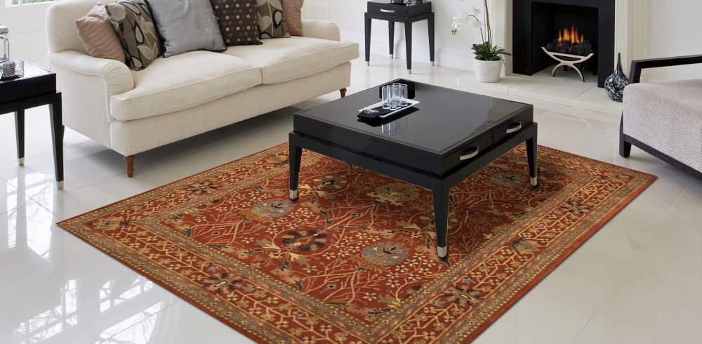 EORC OT31RT RUST HAND TUFTED WOOL MORRIS RUG