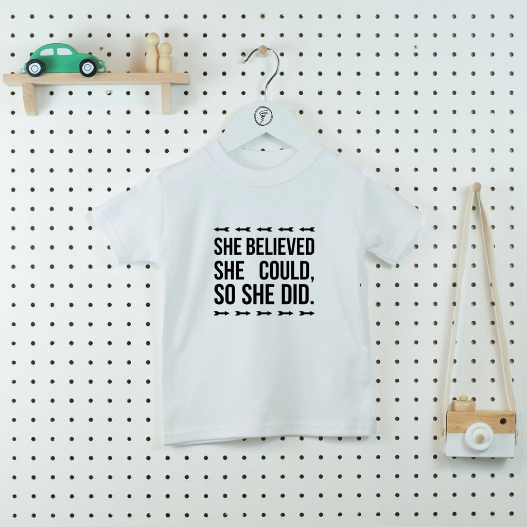 She Believed She Could Kids' T-shirt - Little Whirlwinds cool baby clothes and cool older kids clothes and gifts